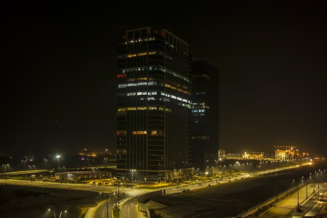 Night View of GIFT One Tower in GIFT City as on January 2017